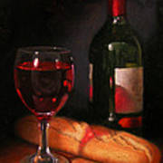 Wine And Baguette Poster by Timothy Jones