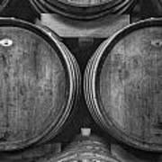 Wine Barrels Monochrome Poster