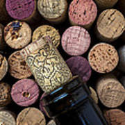 Wine Bottle With Corks Poster