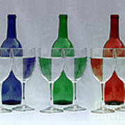 Wine Bottles And Glasses Illusion Poster