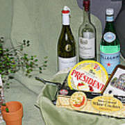 Wine Cheese And Crackers Poster