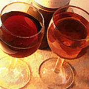 Wine Toast In Watercolor Poster by Elaine Plesser
