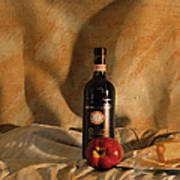 Wine With An Apple And Cheese Poster
