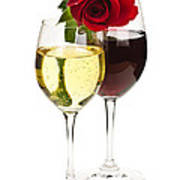 Wine With Red Rose Poster by Elena Elisseeva