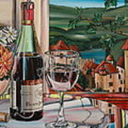 Wine With River View Poster by Anthony Mezza