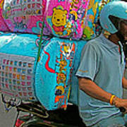 Winnie The Pooh On A Scooter In Bangkok-thailand Poster