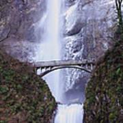 Winter At Multnomah Falls Poster
