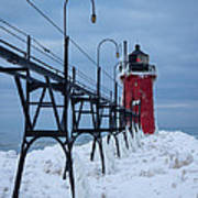 Winter At South Haven Lighthouse Poster