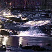Winter At The Woodlands Waterfall In Wilkes Barre Poster