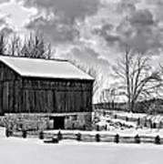 Winter Barn Monochrome Poster
