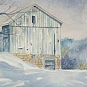 watercolor print Winter Barn painting for sale Poster