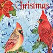 Winter Blue Cardinals-merry Christmas Card Poster