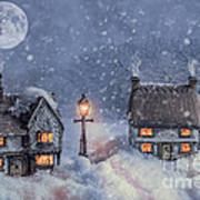 Winter Cottages In Snow Poster