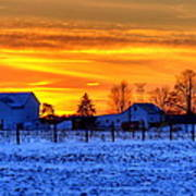 Winter Country Sunset Poster