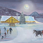 Winter Evening At Evergreen Lakehouse Poster