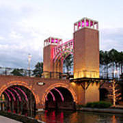 Winter Evening Lights On The Woodlands Waterway Poster