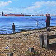 Winter Fishing At Weston Shore Southampton Poster