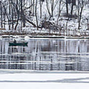 Winter Fishing - Wisconsin River Poster