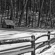 Winter Hut In Black And White Poster