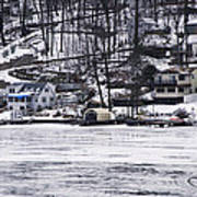 Winter Ice Lake Scene Hopatcong Covered Port Poster