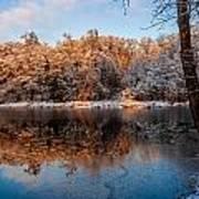 Winter Lake Reflections Poster