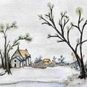 Winter Landscape With Cottage Poster by Christine Corretti