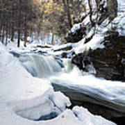 Winter Meltdown Rushing Over Conestoga Falls Poster by Gene Walls
