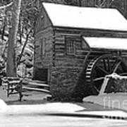 Winter Mill In Black And White Poster