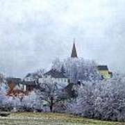 Winter Morning In My Village Poster