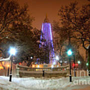 Winter Night-city Lights-and Christmas Lights At The Washington Monument Poster