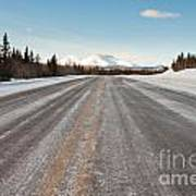 Winter On Country Road In Taiga And Snowy Mountain Poster