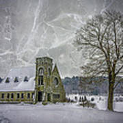 Winter on the Old Stone Church Poster