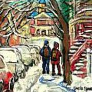 Winter Scene Painting Rows Of Snow Covered Cars First School Day After Christmas Break Montreal Art Poster