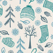 Winter Seamless Pattern With Knitted Poster
