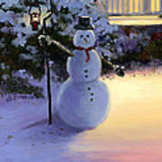 Winter Snow Man Poster by Cecilia Brendel
