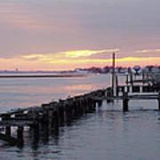 Winter Sunset Freeport Poster
