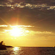 Winter Sunset Over Long Island Poster