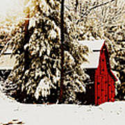 Wintry Red Barn Poster