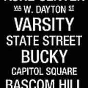 Wisconsin College Town Wall Art Poster