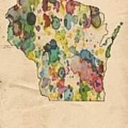 Wisconsin Map Vintage Watercolor Poster