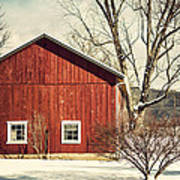 Wise Old Barn Winter Time Poster