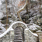 Wissahickon Steps In The Snow Poster
