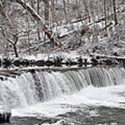 Wissahickon Waterfall In Winter Poster by Bill Cannon