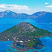 Wizard Island From Watchman Overlook In Crater Lake National Park-oregon  Poster