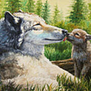 Wolf Painting - Spring Kisses Poster