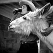 Woman And Donkey Black And White Poster
