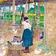 Woman Beating Cassava Jamaica Poster
