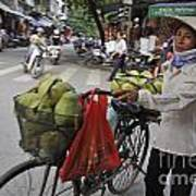 Woman Carrying Fruit On Bike Poster by Sami Sarkis
