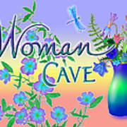 Woman Cave With Dragonfly Poster