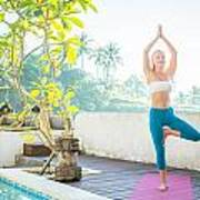 Woman Doing Yoga In The Morning Poster